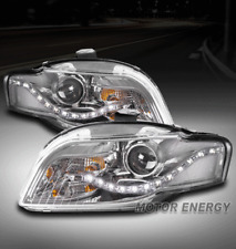 FOR 05-09 AUDI A4 S4 B7/07-08 RS4 DRL LED PROJECTOR HEADLIGHTS CHROME LEFT+RIGHT