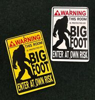 This Room Protected By Bigfoot 12 by 18 metal Sign
