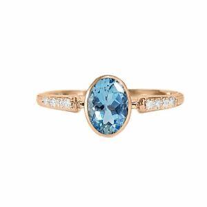 18K Rose Gold Diamond And Aquamarine Elegant Engagement Ring Size 7.5 US