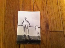 vintage photograph Man In White Bathing Suit at end of dock waiting to Jump in