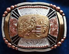 Heavy Rodeo Style Trophy Belt Buckle Barrel Racing German Silver 24K Gld Plated