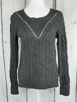 Hippie Rose Cable-Knit Side Slit Sweater Top Pullover Long Sleeve Gray Small S