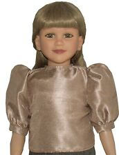 """Taupe Brown Short Sleeve Silky Dupioni Blouse fits 23"""" My Twinn Size Doll"""