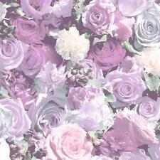 Muriva rosas estampado fotográfica Motivo Floral Vinilo Papel Pintado Mural LILA