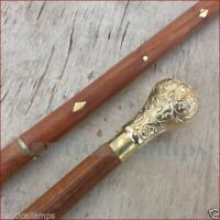 Designer Walking Cane Wooden Brass Vintage Canes Stick Victorian Style Handle