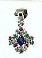 Saphir  Anhänger  Saphir, Smaragd, Rubin & Brillanten  925er  Silber
