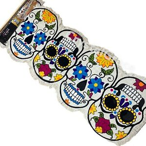 """💀Cynthia Rowley Sugar Skull Halloween Day of The Dead 14""""x48""""Table Runner Party"""