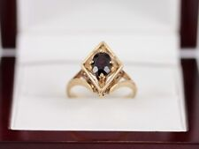 Garnet Solitaire Ring 9ct Gold Ladies Vintage Size M 375 I99