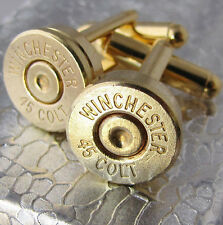 45 COLT WINCHESTER Bullet Cufflinks Gold Brass Country Camo Wedding Dress Gift