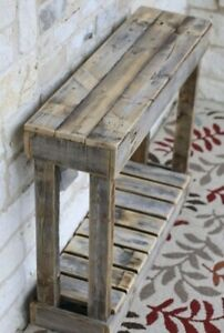 Large Rustic Console Side Table Reclaimed Wood