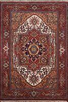IVORY/RUST 4x6 ft Geometric Heriz Oriental Area Rug Hand-Knotted Home Decor Wool