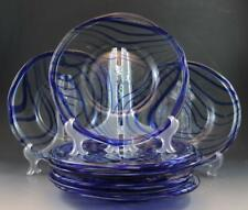 """Vintage Orion Mexican Blue Swirl Glass Set of 8 Dinner Plates 10.25"""""""