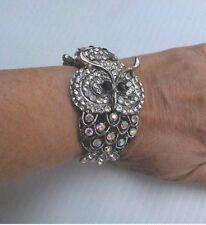 "Retro Cuff Bracelet Owl Silver Toned Rhinestones Hinged 1.25"" Width Wrists 6""-7"""