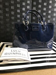 Lulu Guinness Women's Navy Blue Large Hand Bag - Defective |Box(95)