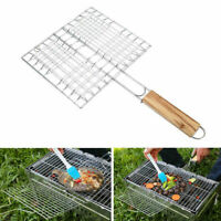 Barbecue Grilling Basket Grill BBQ Net Wooden Meat Fish Supplies Vegetable B4E4