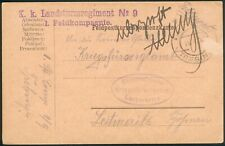 Deutsche Feldpostkarte K. k. Landsturmregiment Nr.9 1. Feldkompanie Trebic RARE
