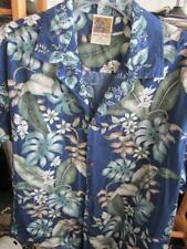 XL Hawaiian Shirt Royal Blue Green Tan Leaves Coco Buttons Made in USA