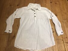 "Girls White Trendy Shirt, 100% Cotton, Size 10 Years, 22"" Long, Sleeves can ro"