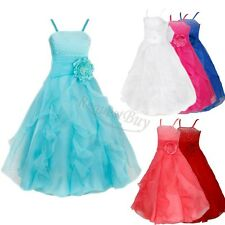Girls Kids Flower Party Communion Formal Wedding Bridesmaid Gown Dress Princess