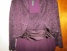 Eggplant colored, Lace Jacket, Tiered Skirt, Mother of the Bride, R&M, Size 16