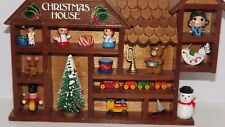 Vintage Christmas House Wooden Shadow Box Miniature Christmas Toys