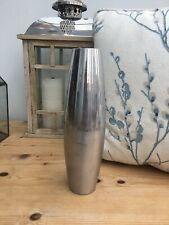 2 x 9.5in Tall Bullet Shaped Brushed Silver Shiny Gloss Silver Table Flower Vase