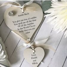 Auntie/Child Personalised Heart Wall Hanging Gift/Plaque P350