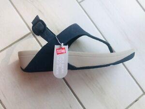 FitFlop Lulu Cross back strap Toe Post Women's Navy sandals shoes UK size 3
