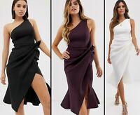 ASOS™ DESIGN $71 One Shoulder Tuck Detail Midi Dress - Black, Ivory, Aubergine
