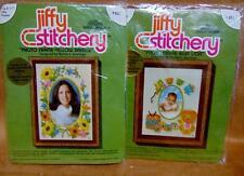Vintage 1987 Jiffy Stitchery Lot of Two (2) Photo Frames Kits by Sunset Designs