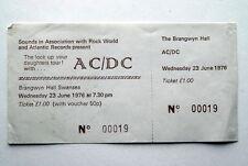 AC/DC LOCK UP YOUR DAUGHTERS UK TOUR 23RD JUNE 1976 UNUSED RARE TICKET BON SCOTT