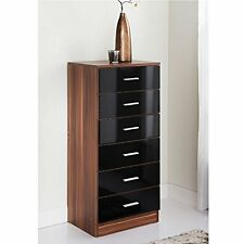Hi Gloss Black 6 Drawer Bedside Table Cabinet Storage Night Stand Wardrobe Unit