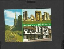 Salmon multi View Vintage Colour Postcard Stonehenge and Salisbury unposted