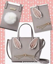 KATE SPADE Hop To It Rabbit MINI HAYDEN Satchel Taupe Leather WKRU4757 NWT