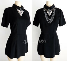 Forever 21 Black Peter Pan Collar Short Sleeves CUTE Jumpsuit Romper Dress - S