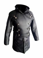 Mens Trench Coat Real Black Leather Steampunk Gothic Matrix