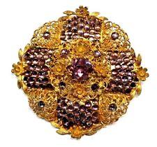 Stunning Art Deco Amethyst Rhinestone Gold Filigree Brooch