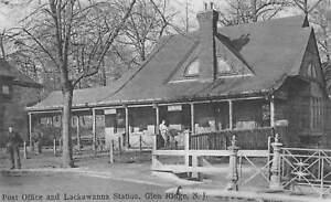 Glen Ridge New Jersey Post Office Lackawanna Station Train Vintage Postcard