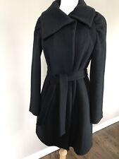 Elie Tahari Shaina Dbl Breasted 100% Wool Snap, Belted Coat Sz 8 Blk EUC