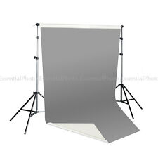 2x4m Dual Sided Grey/White Vinyl Backdrop & Telescopic Background Stand Support