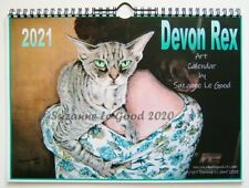 Devon Rex Cat Art Painting Calendar 2021 from original painting Suzanne Le Good