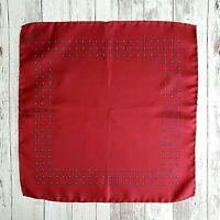 Vintage Red Silk Pocket Square Blue Geometric Print Hand Rolled Handkerchief