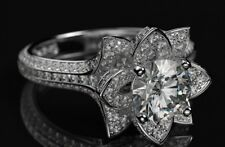 14K White Gold Over 2.00 Ct Round Cut Diamond White Lotus Flower Wedding Ring