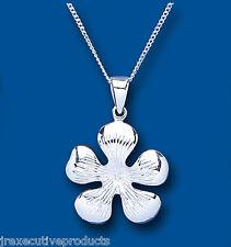 .925 Sterling Silver Flower Design Pendant & Chain 28 x 20mm