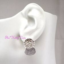 Silver Rodium Plt Twin Discs Sandblasted Moondust Earrings w/ Swarovski Crystals