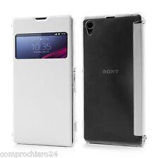 Schutzhülle weiß leather s-Blick Brieftasche für Sony Xperia Z1 Kippen