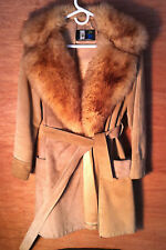 Brier Amsterdam Vtg sueded Leather Trenchcoat w Fox fur collar jacket belted 70s