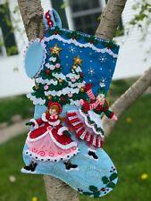 """Bucilla~  18 """" Felt  Christmas Stocking,~Handmade,Finished ~""""SKATERS"""""""