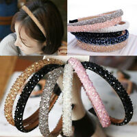 Women Girl Bling Rhinestone Hair Clip Headband Elastic Hairband Hair Accessory