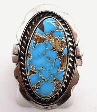 Navajo Handmade Kingman Turquoise Ring Set In Sterling- Augustine Largo-Size 6